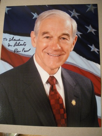 My personalized autographed photo from Ron Paul