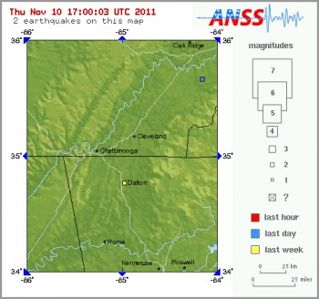 Map showing Dalton's 2.7 Magnitude Earthquake on 11/9/2011